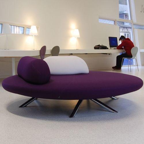 Polsterbank / organisches Design / Stoff / Leder / mit Rückenlehne