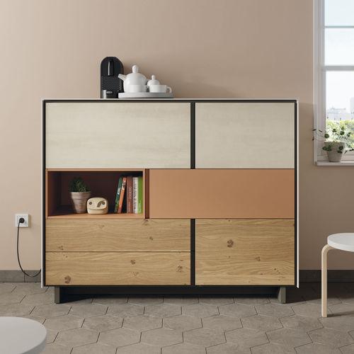 modernes Sideboard / lackiertes Holz / aus Eiche / Keramik