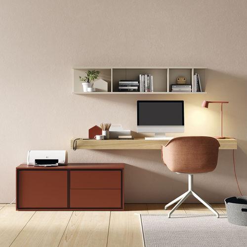 Schreibtisch aus Eiche / Holzfurnier / modern