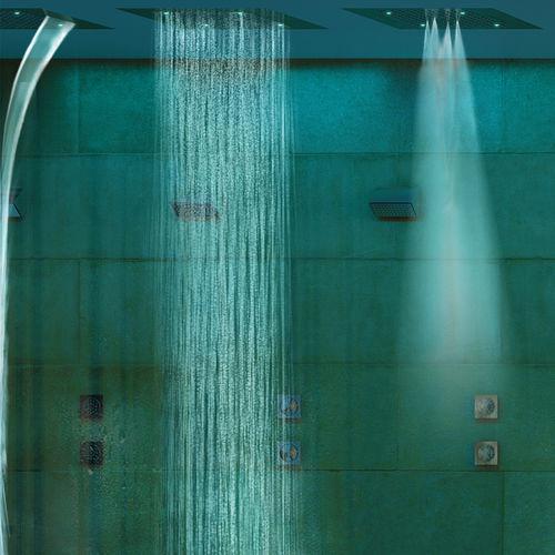Duschkopf für Deckeneinbau / rechteckig / Wasserfall / Chromotherapie