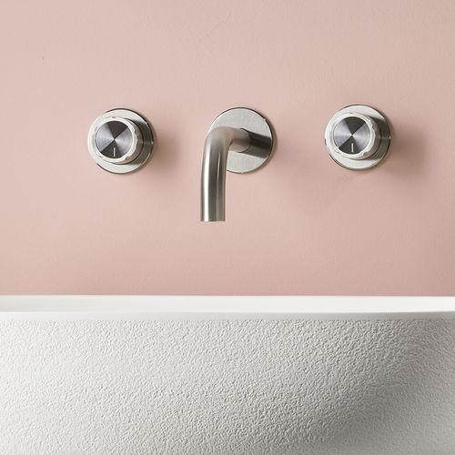 Mischbatterie für Waschtisch / wandmontiert / Edelstahl / Badezimmer