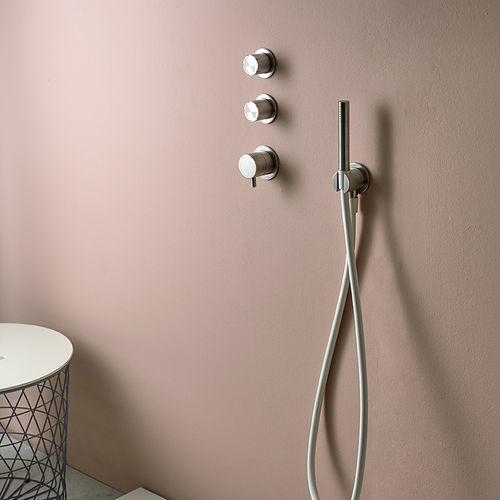 Mischbatterie für Duschen / wandmontiert / Edelstahl / thermostatisch