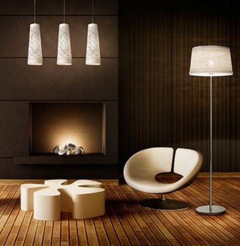 Stehleuchte / modern / verchromtes Metall / Innenraum