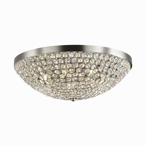 moderne Deckenleuchte / rund / Kristall / verchromtes Metall