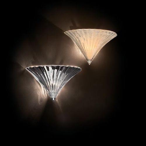 klassische Wandleuchte / verchromtes Metall / Glas / gebogen