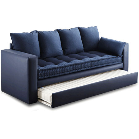 modernes Sofa / Stoff / mit ausziehbarem Bett / blau