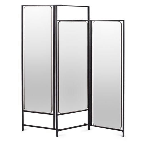 moderner Paravent / Glas / pulverbeschichteter Stahl / Laminat