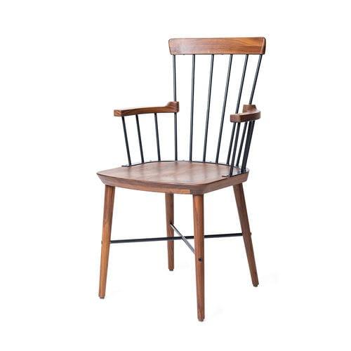 moderner Stuhl / mit Armlehnen / Massivholz / Stahl