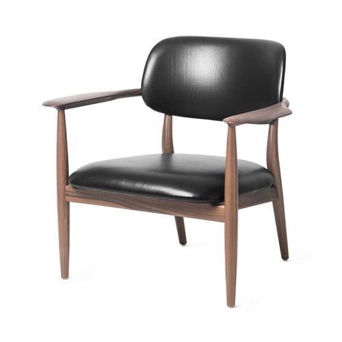 moderner Sessel / Leder / Massivholz