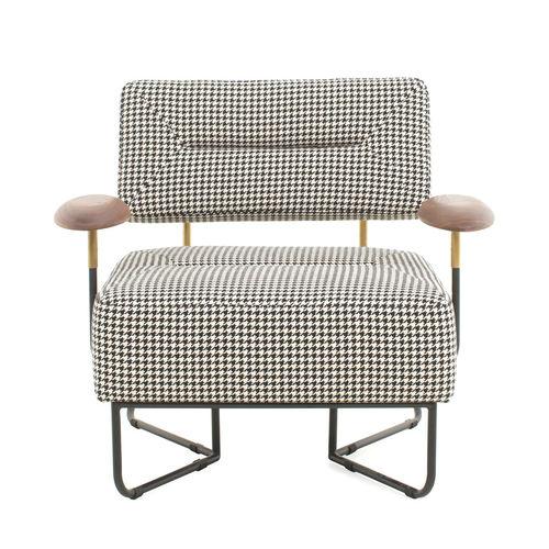 moderner Sessel / Massivholz / Stahl / Kufen