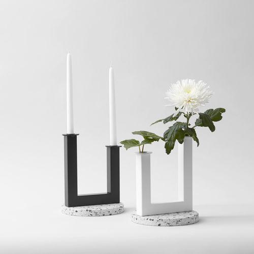 Glas-Kerzenhalter / gestrichenes Metall / aus Terrazzo