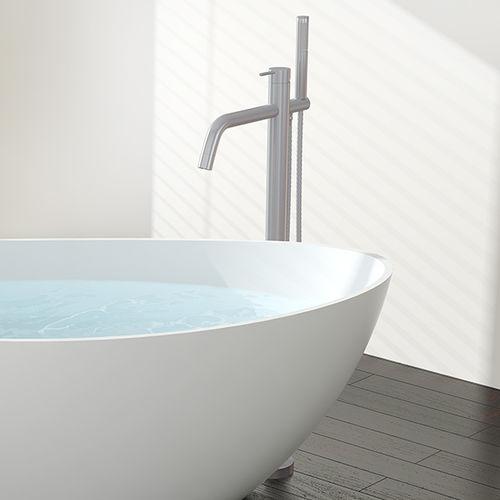 Einhebelmischer für Waschtisch / Badewannen / bodenstehend / aus verchromtem Messing