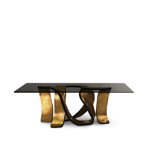 Esstisch / originelles Design / blattvergoldetes Holz / Hartglas / rechteckig