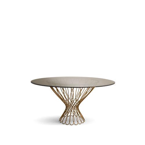 moderner Esstisch / Hartglas / Metall / rund