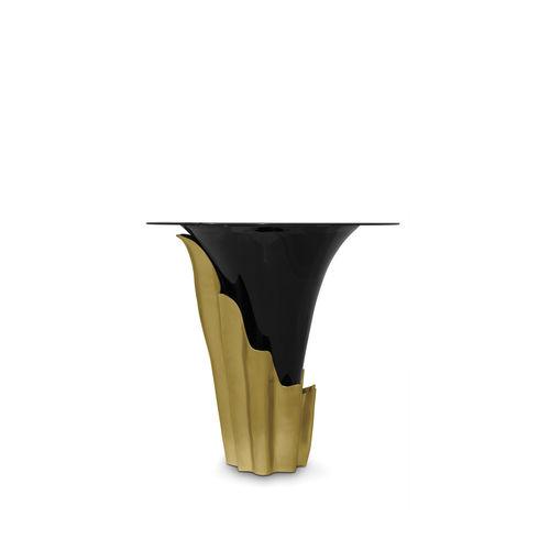 Stehtisch / originelles Design / Messing / Hartglas / rund