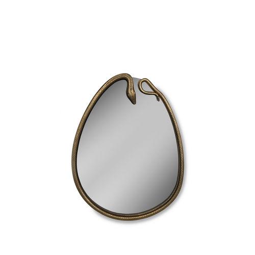wandmontierter Spiegel / originelles Design / oval / blattvergoldetes Holz