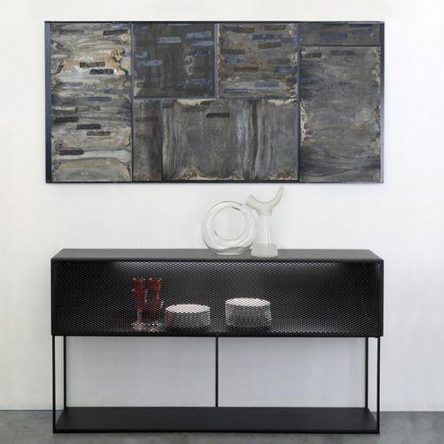 hochbeiniges Sideboard / modern / Metall / mit Regal
