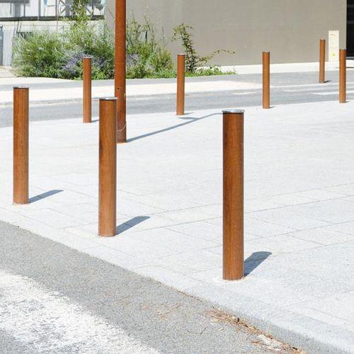Sicherheits-Sperrpfosten / Holz / Edelstahl / abnehmbar