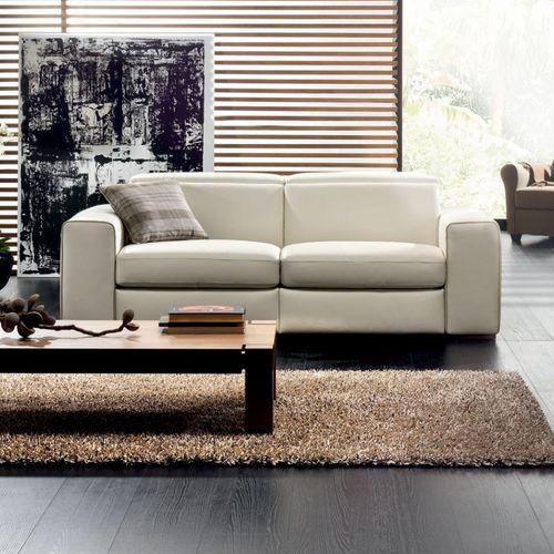 modernes Sofa / Leder / Stoff / 2 Plätze