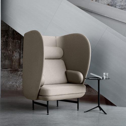 moderner Sessel / Stoff / pulverbeschichteter Stahl / mit hoher Rückenlehne