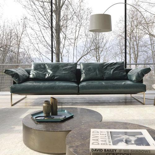 modernes Sofa / Stoff / Leder / 2 Plätze