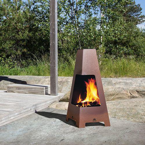 Holzkamin / modern / offene Feuerstelle / bodenstehend