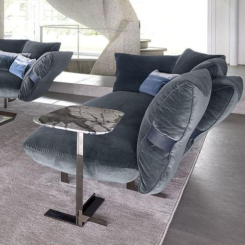 moderner Beistelltisch / Metall / Marmor / rund