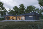 Haus aus Massivholz-Block