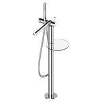 Einhebelmischer für Badewanne / bodenstehend / verchromtes Metall / Badezimmer