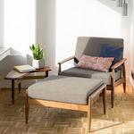 klassischer Sessel / Stoff / Massivholz / mit Armlehnen