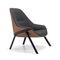 moderner Sessel / Stoff / Leder / Aluminium