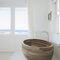 freistehende Badewanne / oval / Holz