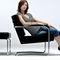 moderner Sessel / Leder / Massivholz / Chromstahl