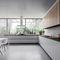 moderne Küche / Holzfurnier / aus MDF / Aluminium