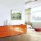modernes Sideboard / lackiertes MDF / orange