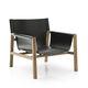 moderner Sessel / Leder / Holz / schwarz