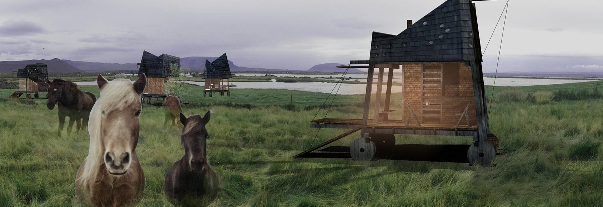 gegenüberliegendes Büro entwirft bewegliche Häuser, damit Touristen Nordlichter in Island beobachten