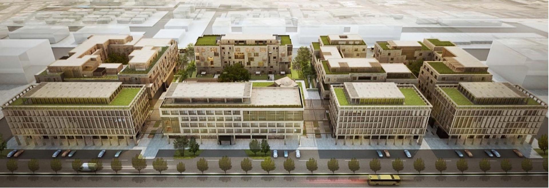 Der Komplex für gemischte Nutzung zielt darauf ab, die Wärmeabfuhr mit Grün in Saudi-Arabien zu minimieren