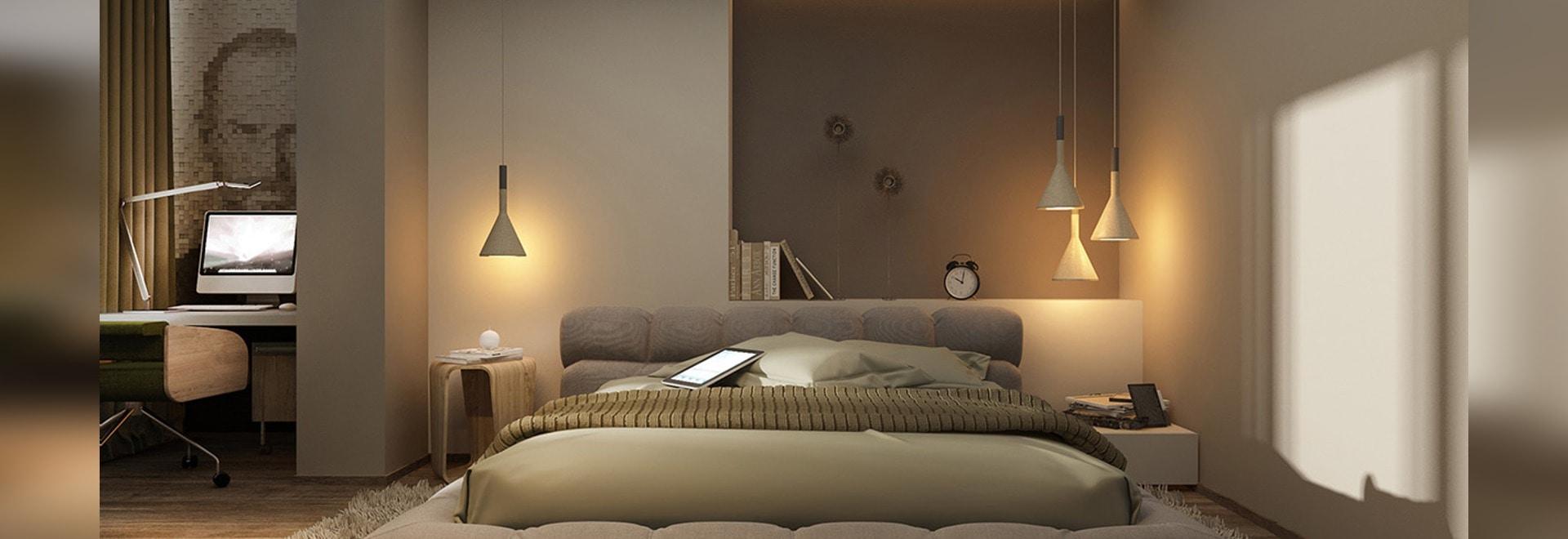 Schöne Schlafzimmer vollkommen für Lounging den ganzen Tag ...