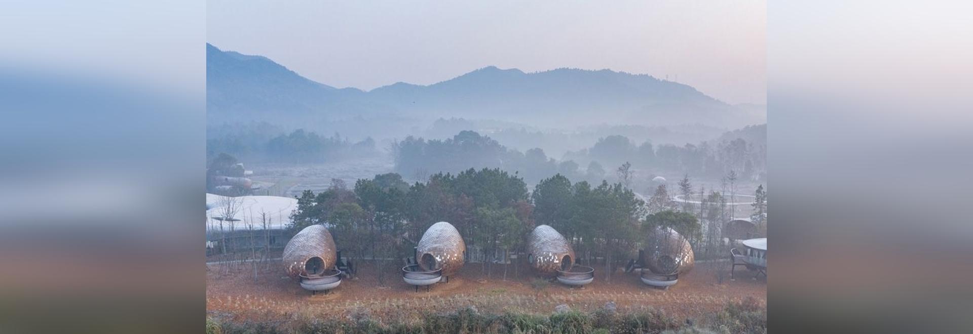 ZJJZ verkleidet ellipsenförmige Gästehäuser in verspiegeltem Aluminium + Kiefernschindeln im ländlichen China