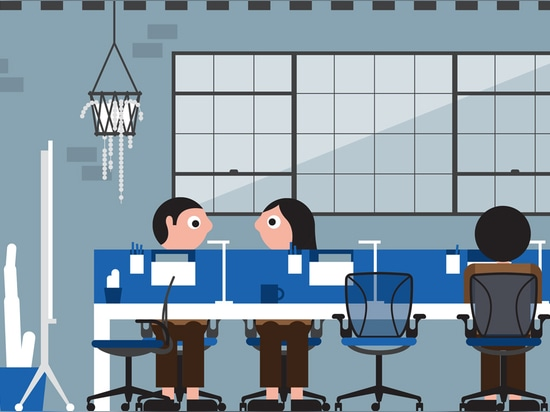 """Geöffnete Schreibtische erlauben Arbeitskräften, etwas persönlichen Raum zu haben, ohne Kommunikationssperren und -arbeit gut zu verursachen für, """"zu konkurrieren"""" Bürokultur. Abbildung durch Steph..."""