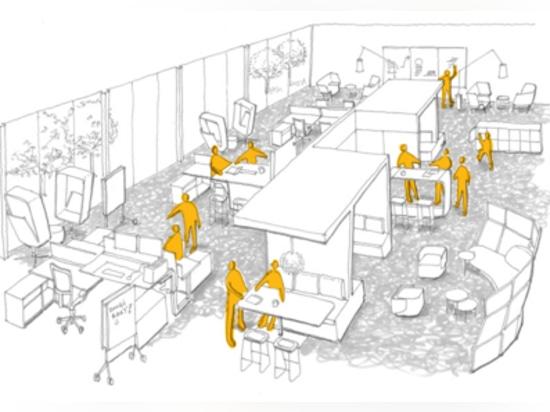 """Architektur und Entwurf """"können sich stützen, oder sogar sagt Änderungsfirmakultur"""" Haworth Forschung"""