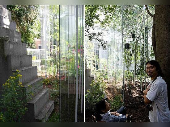 Gewächshäuser auf der Außenseite des japanischen Pavillions von 2008 Architekturbiennale in Venedig hergestellt von Junya Ishigami