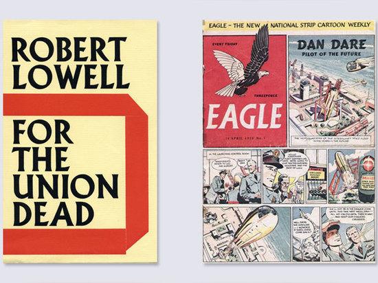 Andere Beispiele von Wolpes Arbeit umfassen, vom links: Faber-u. Faber-Bucheinband, seinen berühmten Albertus Guss kennzeichnend; sein Firmenzeichen für Adlerzeitschrift, ausgewählt von unserem typ...