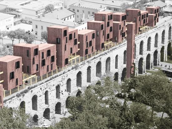 superspace schlägt vor zu schwimmen, Module unterbringend, um den valens Torbogen in Istanbul wiederzubeleben