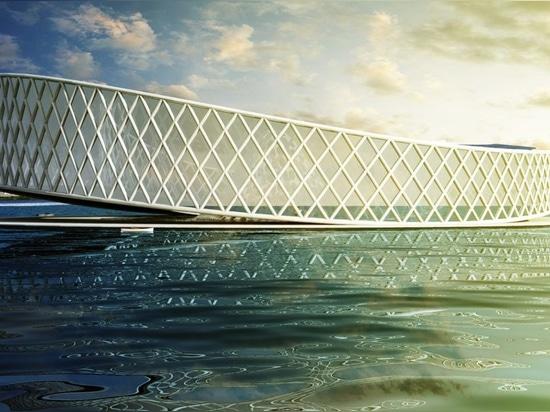 Solarbetriebenes Forschungszentrum der Architektenentwürfe, zum von dem sterbenden Tschadsee zu retten