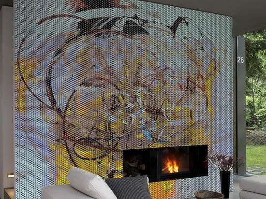 Wohnzimmer in einem Privateigentum mit kundengebundenem Harzmosaik