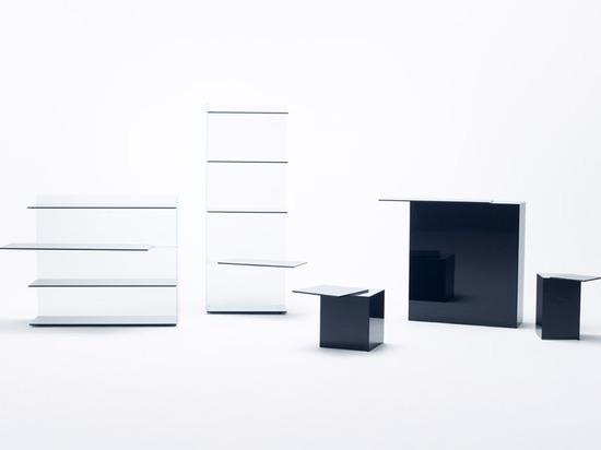 Nendo verschiebt Regale und Oberflächen für Diaglasmöbel