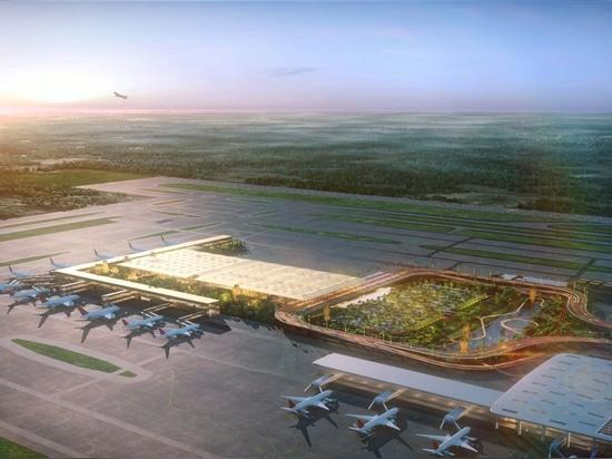 """SOMs Entwurf für ein neues """"Garden Terminal"""" am Kempegowda International Airport in Bengaluru"""