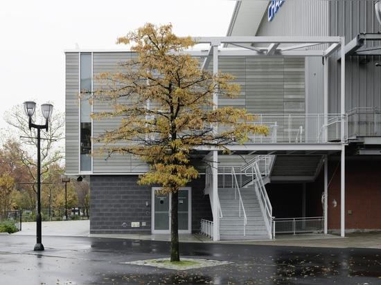 USTA Ticket Office mit öko skin Latten verkleidet
